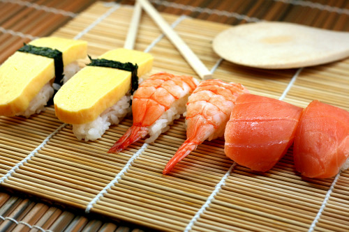 Nigiri_Sushi; Tomago (egg), Shrimp and Salmon.