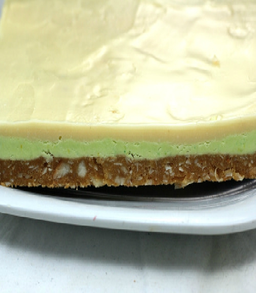 Key Lime White Chocolate Nanaimo Bars with a Chewy Coconut Macadamia Graham Crust