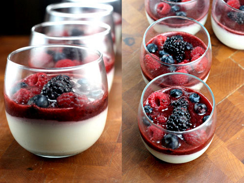 Outrageously Creamy Vanilla Bean Buttermilk Puddings with Fresh Berry Sauce. Low-Fat and Low Sugar!