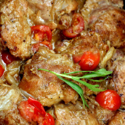 Braised Chicken Thighs with Garlic Honey Mustard, and Shallots! Melt-in-your-mouth tender and loaded with flavor!