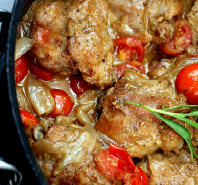 Braised Chicken Thighs with Garlic Honey Mustard, Tomatoes and Shallots! Melt-in-your-mouth tender and loaded with flavor!