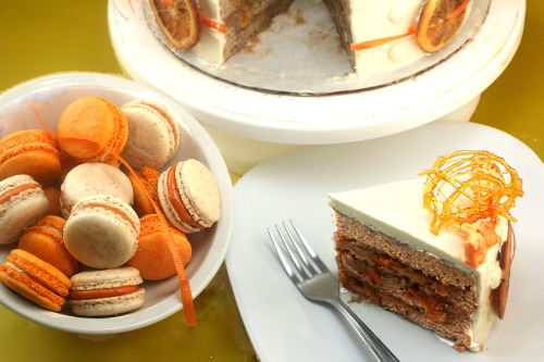 Roasted Butter Pecan Orange Buttercream Cake and Orange Macarons