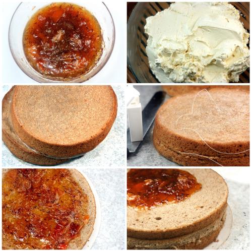 Roasted Butter Pecan Orange Buttercream Cake and Orange Macarons