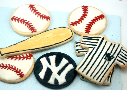 Yankee baseball decorated Sugar Cookies
