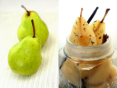 Vanilla Bean Poached Pears for Super fudgy Vanilla Bean Poached Pear Chocolate Toasted Walnut Tart with a buttery, flaky crust that shatters, then melts in your mouth! #poachedpears #pear #peartart #fudge #walnuts #pastafrolladough #chocolate
