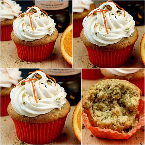 Orange Pistachio Olive Oil Cupcakes with Whipped White Chocolate Cream Cheese Frosting