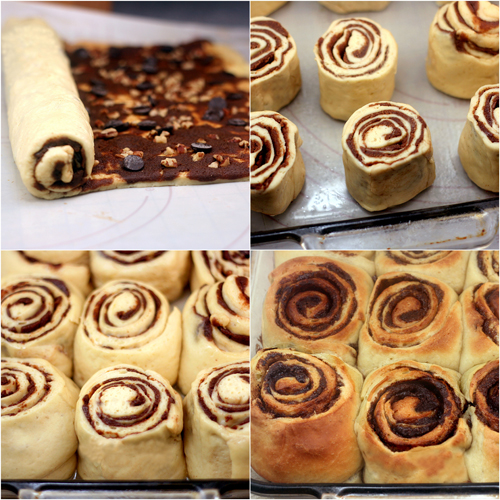Chocolate Cinnamon Meringue Rolls with Cream Cheese Frosting