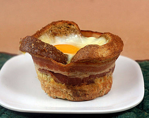 French Toast, Bacon, Brie and Egg Breakfast Cups