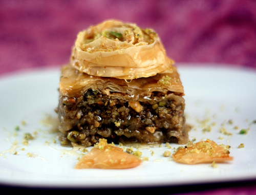 Homemade MIxed Nut Baklava! A combination of walnuts, pistachio nuts, cashew nuts and macadamia nuts make up this Baklava!