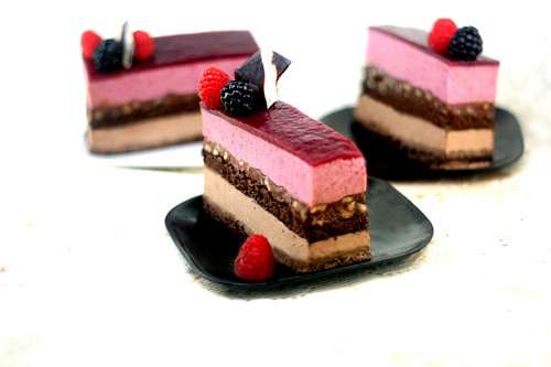 Chocolate Panna Cotta - Berry Mousse Cakes with Toasted Hazelnut Ganache