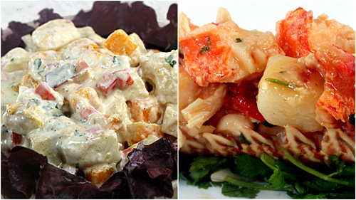 Loaded Greek Yogurt Potato Salad and Warm Chile Lime Lobster Potato Salad