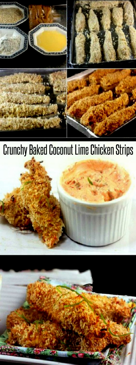 These Crunchy Coconut Key Lime Oven Fried Chicken Strips aka Chicken Fingers aka Chicken Nuggets, are so perfectly crunchy/crispy, they taste deep-fried! Also, a recipe for Spicy Greek Yogurt Dip  to go along with it if you like to dip! #chickenstrips #chickenfingers #chickennuggets #keylime #coconut #baked #lime #chicken #crunchy #greekyogurtdip