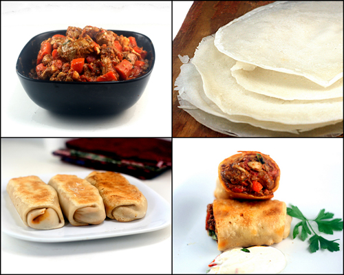Chicken Carrot Curry and Appam (Indian rice pancakes) Blintzes