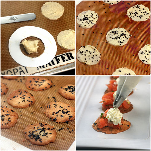 Smoked Salmon Crisps with Lemon Wasabi Cream Cheese. Perfect party hors d'oeuvres!