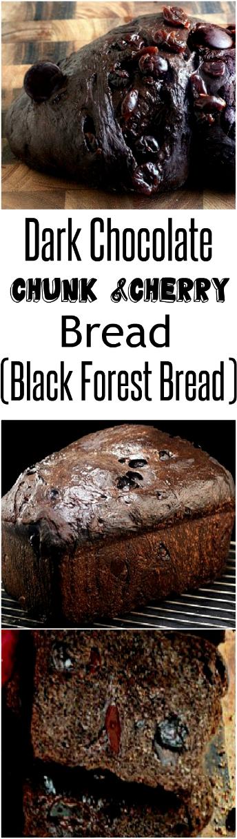 Drunken Soaked Cherry Dark Chocolate Chunk Bread with Whipped Vanilla Bean Cream Cheese (aka Black Forest Bread)