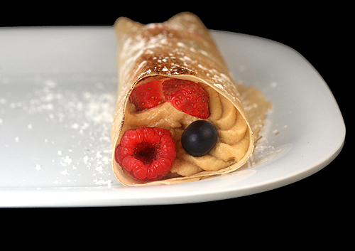 Healthy Peanut Butter Cream and Berries Crepes