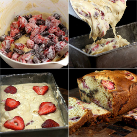 Strawberry Malted Chocolate Chunk Yogurt Loaf Cake