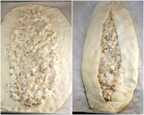 Turkish Pide (flatbread) stuffed with fresh, homemade chevre cheese!
