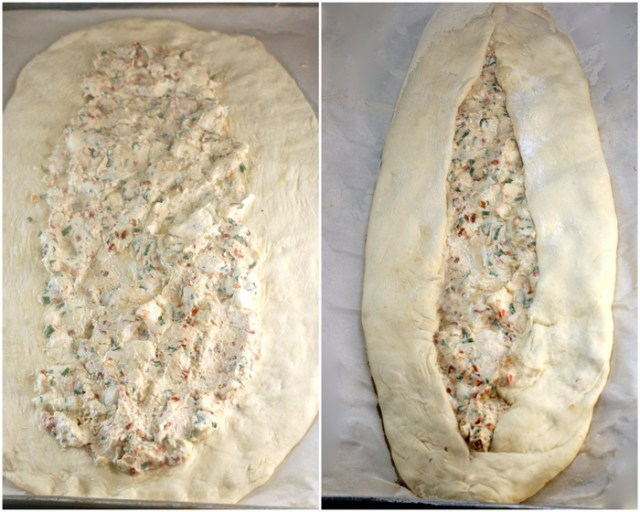 Turkish Pide (flatbread) stuffed with fresh, homemade garlic herb chevre cheese!