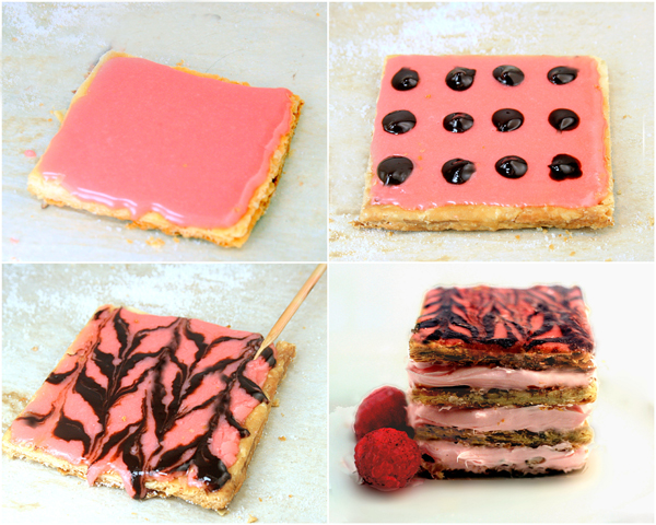 Raspberry Mousse Almond Praline Mille Feuille aka Napoleons #breastcancerawareness