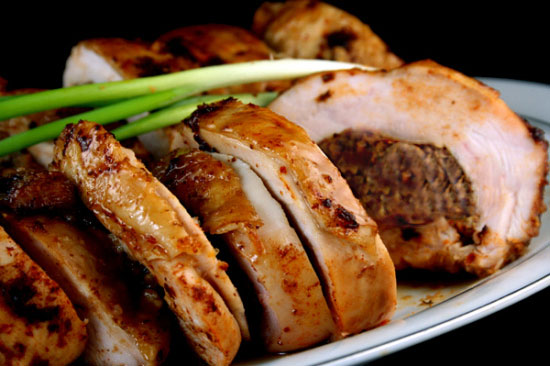 Maple Brined Ancho-Scallion Boneless Turkey Breast Roulade with Apple-Butter Pecan Stuffing