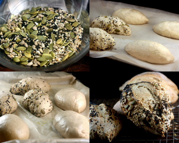 Six-Seed Garlic Onion Poolish Rolls.These rolls are started with a sponge called a poolish, then topped with pumpkin, sunflower, sesame, poppy & flax seeds!