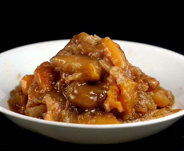 Butterscotch Caramel Peach Cobbler. Two of my readers won blue ribbons with this cobbler last summer!