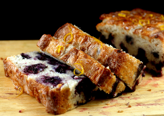 Smashed Blueberry Lemon Loaf Pan Cake made with Nonfat Greek Yogurt. 95% fat-free, and just like a full fat giant blueberry muffin!