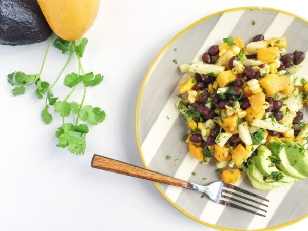 mango grilled corn and black bean salad