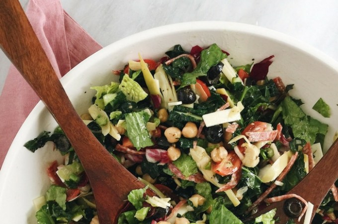 Italian Chopped Kale Salad with Lemon Oregano Vinaigrette