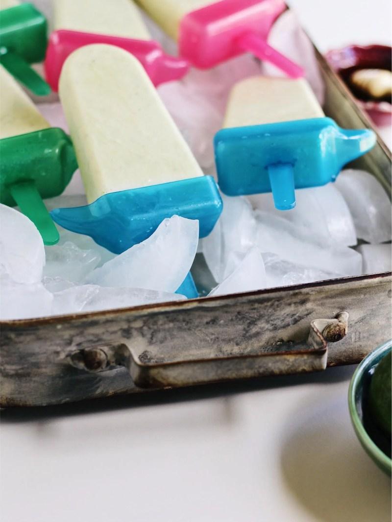 healthy basil lime yogurt popsicles
