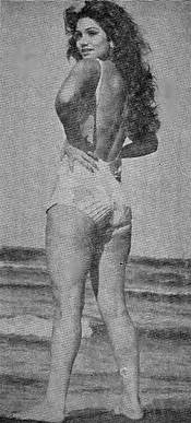 Sepideh in a one-piece bathing suit