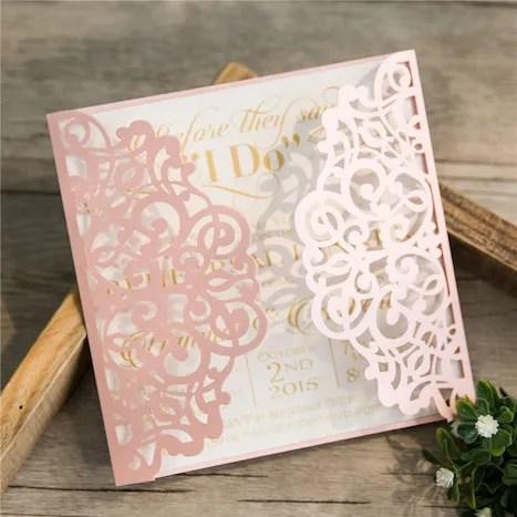 Partecipazioni Matrimonio Laser Rosa