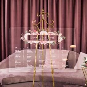 Cartelli Plexiglass tableau de mariage YK021