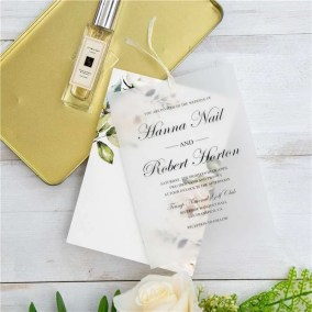Invito di nozze elegante floreale a doppio strato in carta trasparente WDV0004
