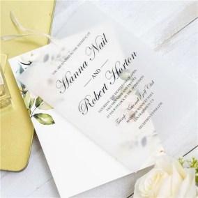Invito di nozze elegante floreale a doppio strato in carta trasparente WDV0004_1