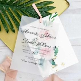 Invito di nozze romantico floreale in carta trasparente WDV0003