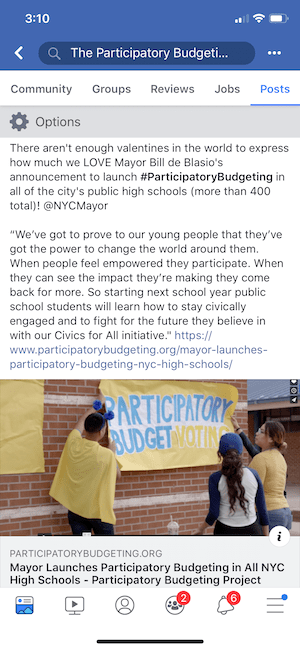 In February, New York City Mayor Bill de Blasio announced that participatory budgeting (PB) would be implemented in all of the city's 400+ public high schools. This is the result of years of advocacy, supported by you.