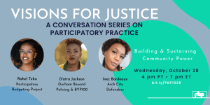 Visions for Justice: A Conversation Series on Participatory Practice — Building & sustaining Community Power