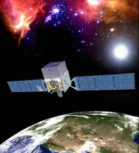 Artist rendition of the Fermi Gamma-ray Space telescope in orbit. Image: http://fermi.gsfc.nasa.gov