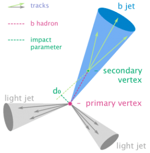"Figure 1: A basic 3-jet event where one of the reconstructed jets is found to have been initiated by a b quark. The process of finding such jets is called ""tagging."""