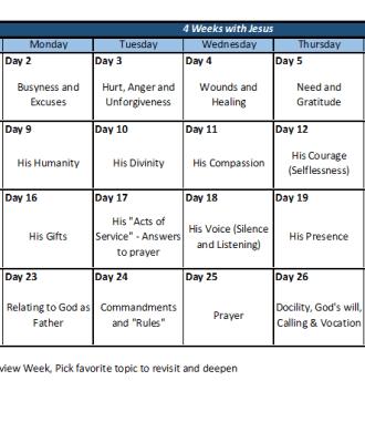 4 weeks with Jesus calendar