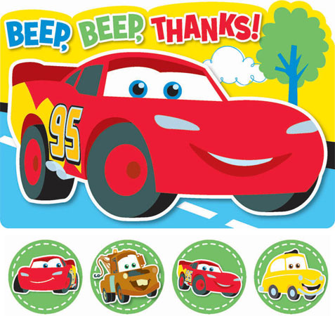 Disney Cars 1st Birthday Thank You Cards Parties4Kids