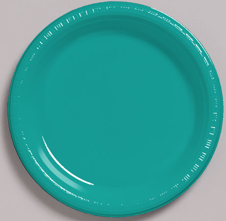 Solid Tropical Teal Plastic Dessert Plates 20pk Parties4Kids
