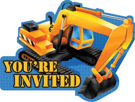 Under Construction Party Invitations Diecut 8pk Parties4Kids