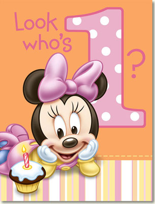Minnie Mouse 1st Birthday Invitations 8pk