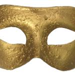 Plastik üzerine altın renk kaplamalı fantom maske. İki yanda yer alan saten kurdelaları ile tutturulur. Yılbaşı partileri