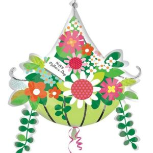Anneler Günü Kutlu Olsun Çiçek Sepeti Supershape Folyo Balon
