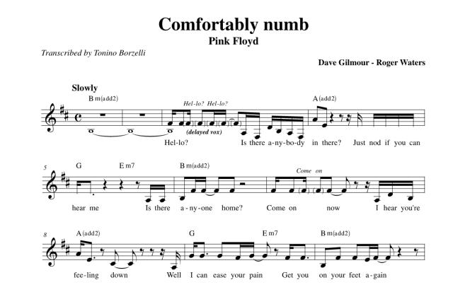 """Lo spartito di """"Comfortably numb"""" dei Pink Floyd"""
