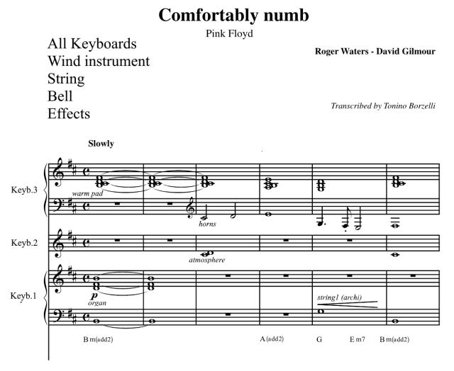 """Lo spartito di """"Comfortably numb"""" dei Pink Floyd: le parti strumentali di tastiere e orchestra"""